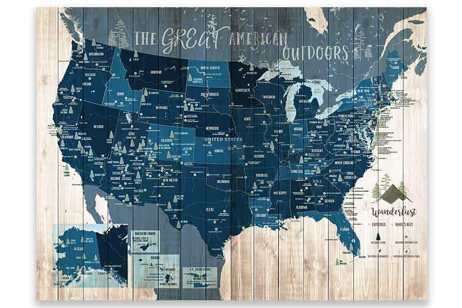 Forest System Map and US National Parks, Push Pin Canvas Board Map World Vibe Studio 18X24 Navy