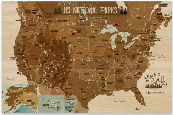Wood Printed National Park Map, Parks and Monuments