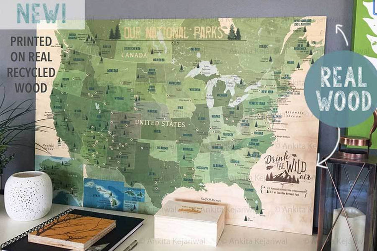 Wood Printed National Park Map, Parks and Monuments Map World Vibe Studio