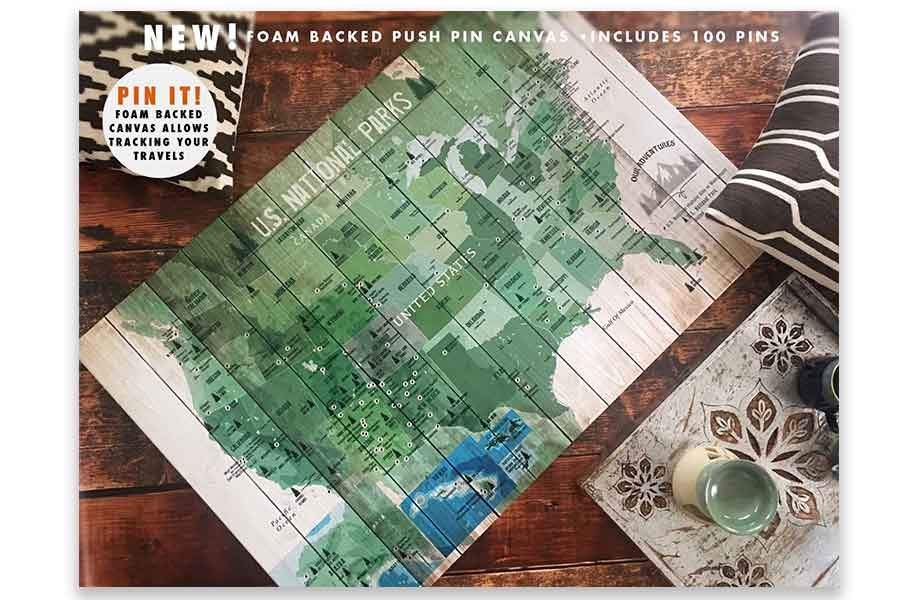 National Parks Map, Push Pin Canvas Board Map World Vibe Studio