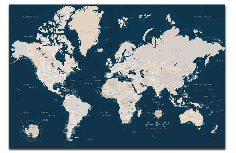 World Map Canvas, Navy, Push Pin Map Map World Vibe Studio