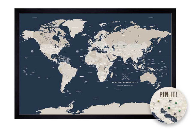 Push Pin World Map, Navy & Cream, Framed Map World Vibe Studio