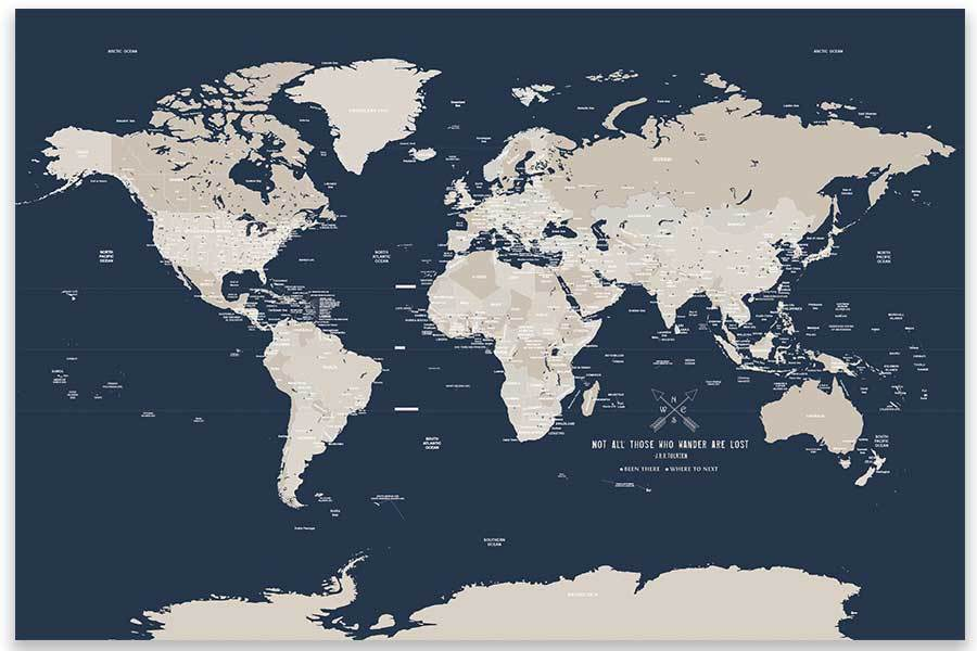 World Map Poster, Navy and Cream, Unframed Map World Vibe Studio