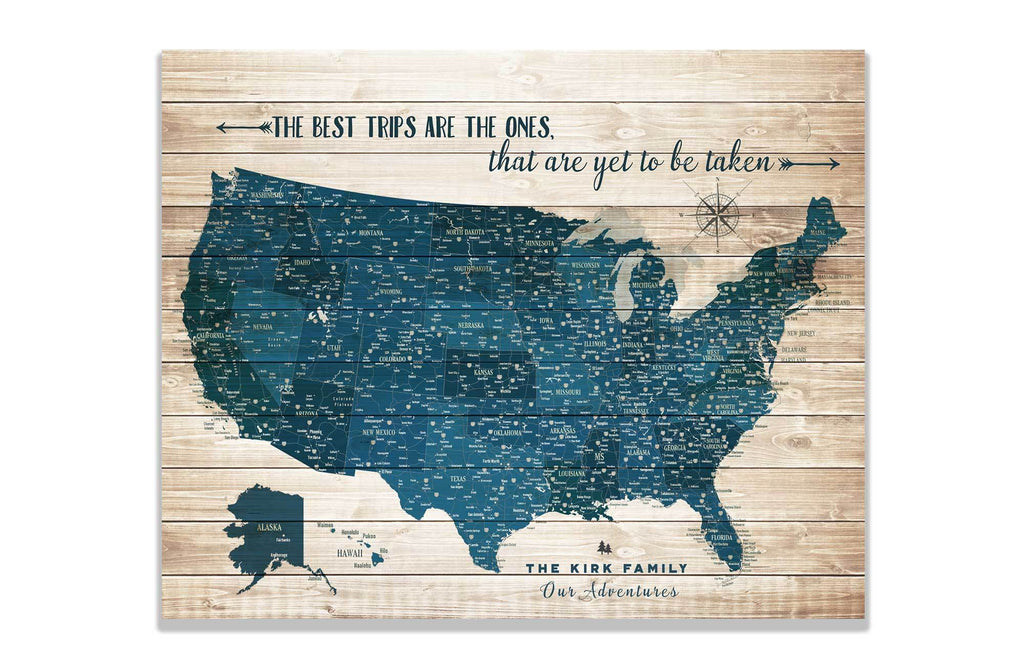 Push Pin Canvas Map, USA Road trip, Personalized Map World Vibe Studio