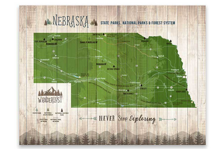 Nebraska State Parks, Map of Nebraska, Canvas Board Map World Vibe Studio 12X16 Green
