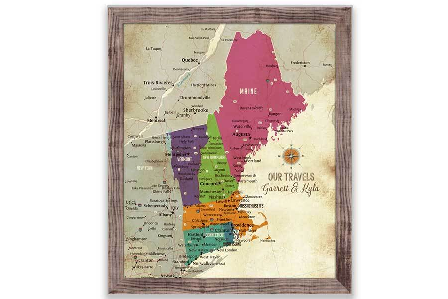 New England Map, Push Pin Style, Framed Map World Vibe Studio 20X24