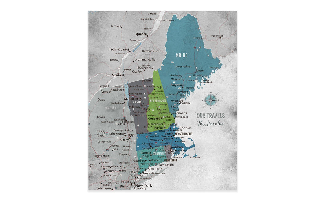 New England Map, Push Pin Style, Framed Map World Vibe Studio 20X24 Blue Gray