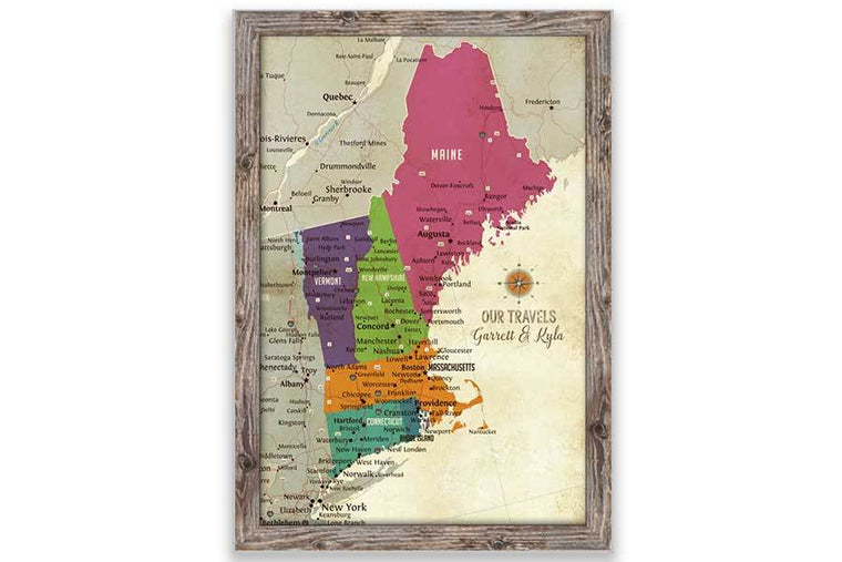 New England Map, Push Pin Style, Framed Map World Vibe Studio 20X30