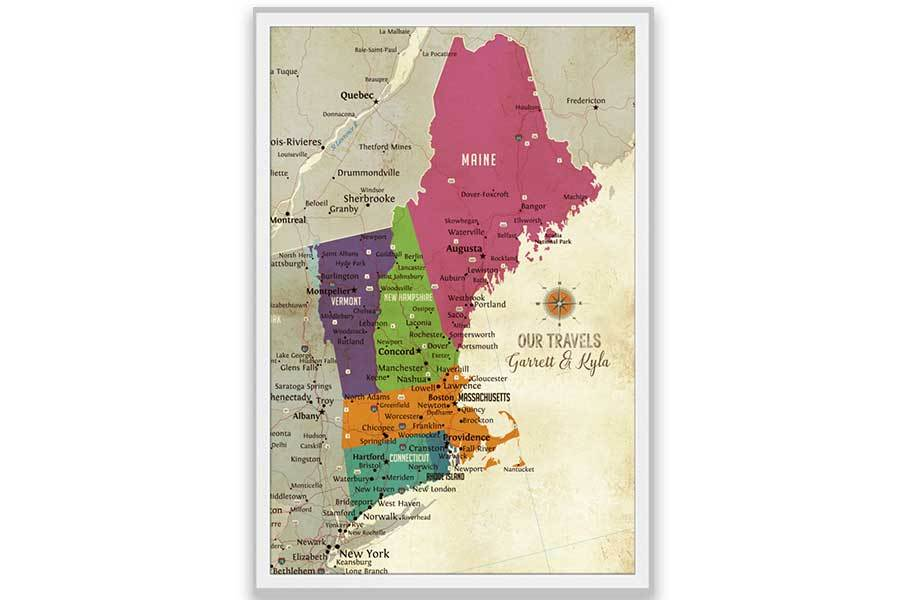 New England Map, Push Pin Style, Framed Map World Vibe Studio