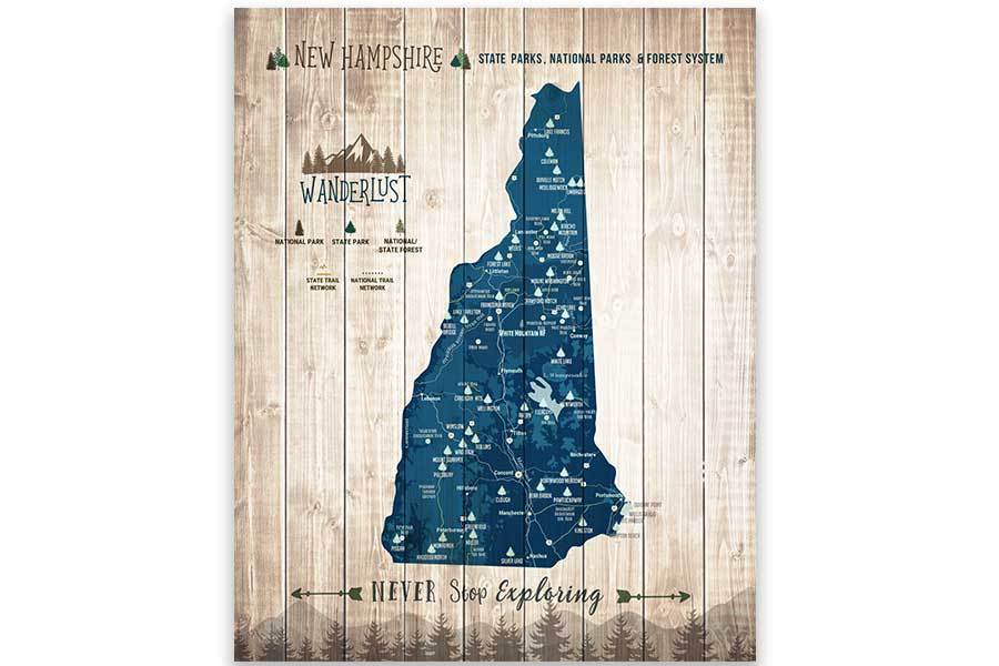 New Hampshire Map, State Parks Map, With Pins Map World Vibe Studio 12X16 Navy-Blue