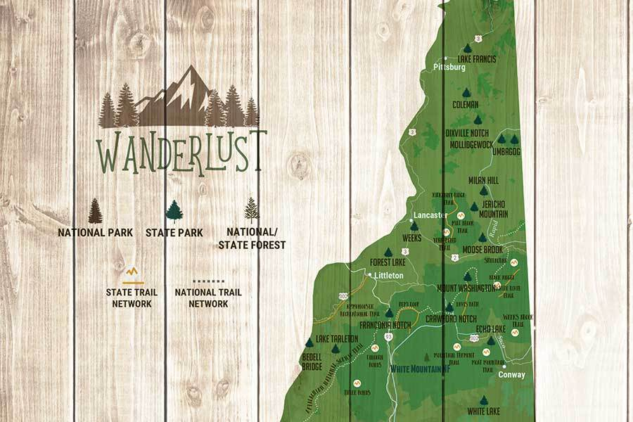 New Hampshire Map, State Parks Map, With Pins Map World Vibe Studio