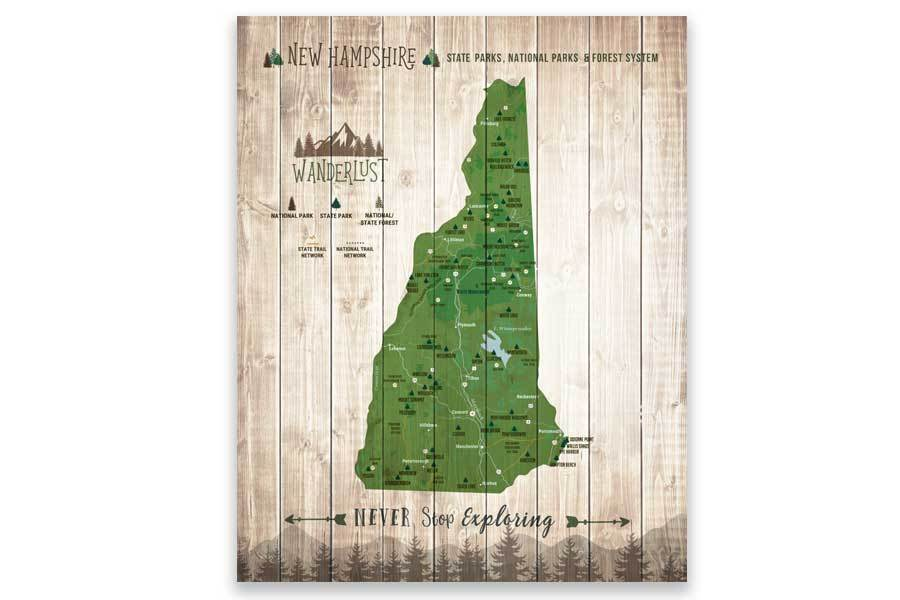 New Hampshire Map, State Parks Map, With Pins Map World Vibe Studio 12X16 Green