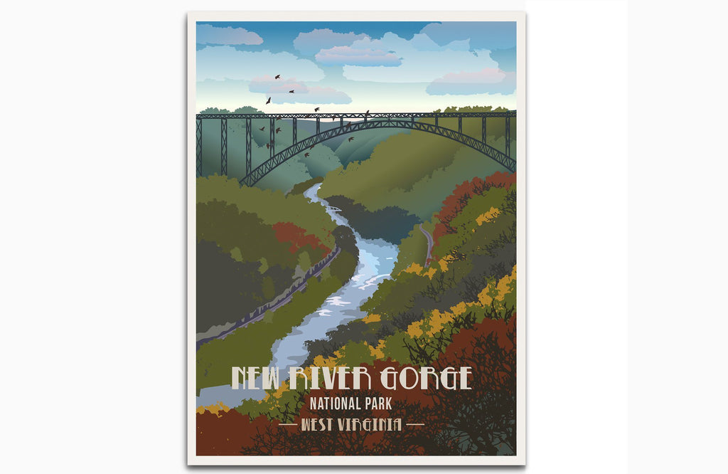 New River Gorge National Park, West Virginia, National Park Poster, Unframed Map World Vibe Studio 8X10