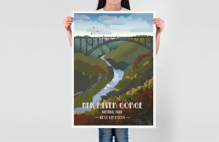 New River Gorge National Park, West Virginia, National Park Poster, Unframed Map World Vibe Studio