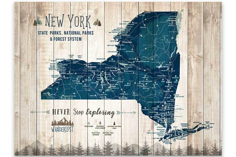 Canvas, New York Map,State park, Forests and Trails Map World Vibe Studio 12X16 Navy-Blue
