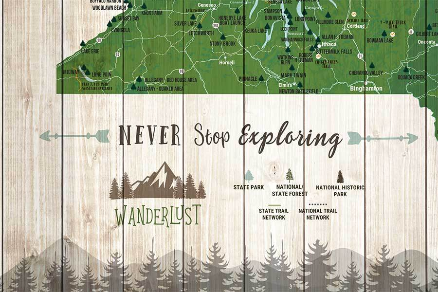 Canvas, New York Map,State park, Forests and Trails Map World Vibe Studio