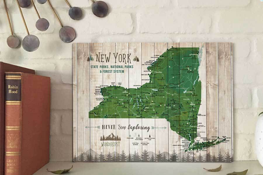 New York State Park Map Poster, Push Pin Board Option