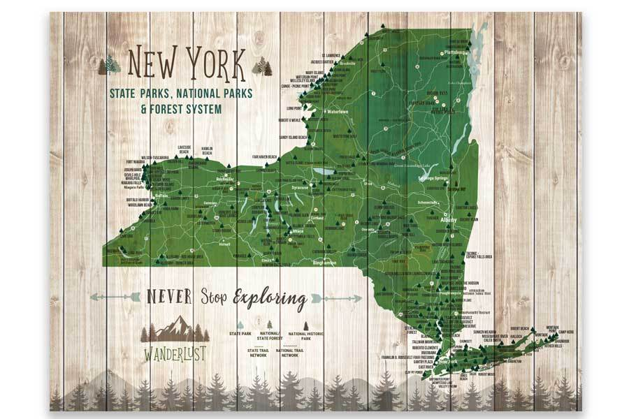 New York State Park Map Poster, Push Pin Board Option Map World Vibe Studio 11X14 Green Print Only