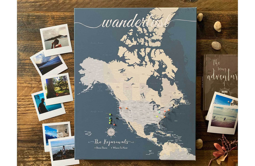 North America Canvas Map, Push Pin Wall Map Map World Vibe Studio