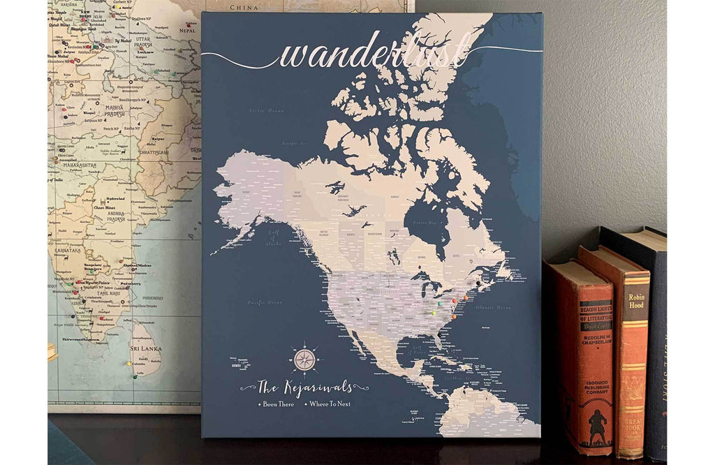 North America Canvas Map, Push Pin Wall Map Map World Vibe Studio 18X24 Navy