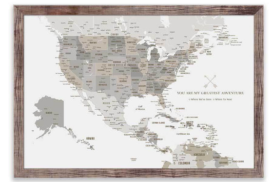 North America Map with Caribbean Islands, Push Pin Map, Framed Map World Vibe Studio