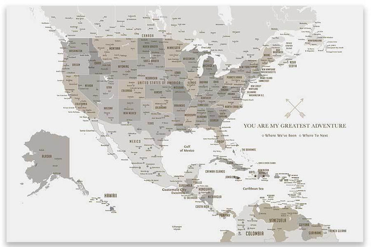North America Map with Caribbean Islands, Poster Map World Vibe Studio