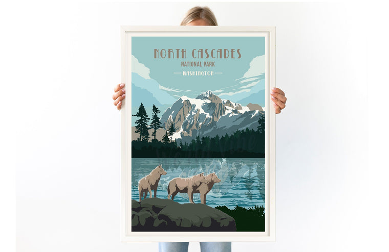 North Cascades National Park, Washington, National Park Poster, Unframed Map World Vibe Studio