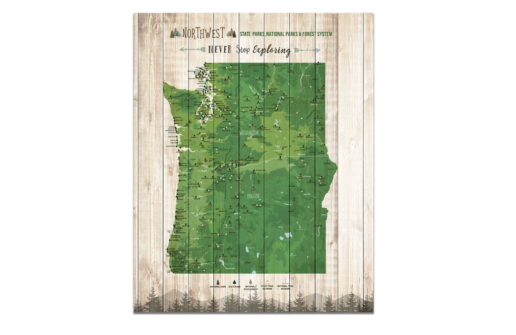 Northwest State Park Map, Washington and Oregon Poster Map World Vibe Studio 16X20 Green