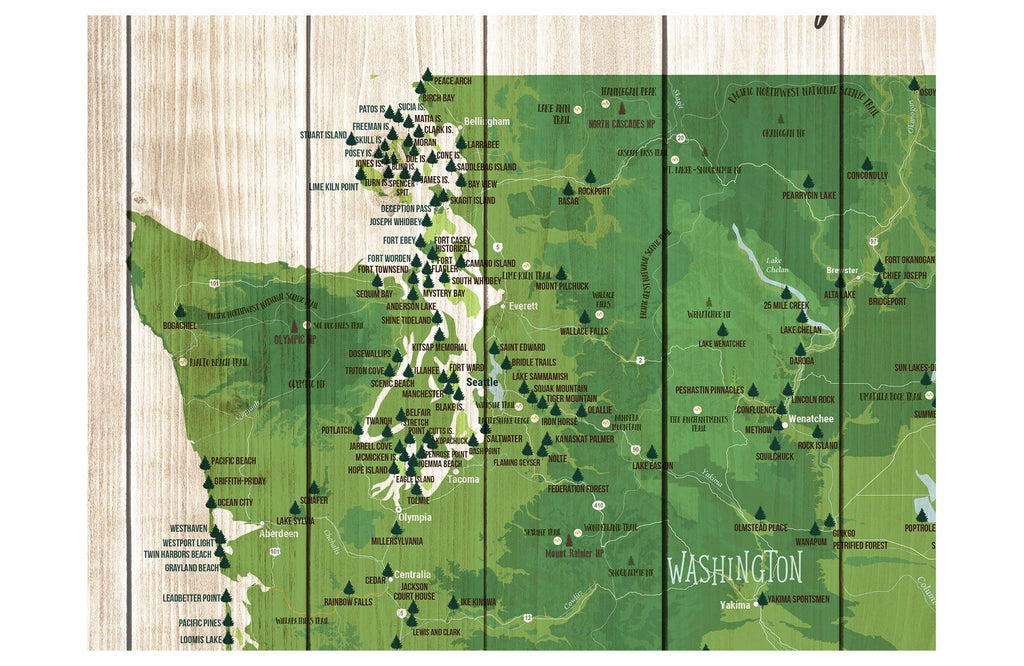 Northwest State Park Map, Washington and Oregon Poster Map World Vibe Studio