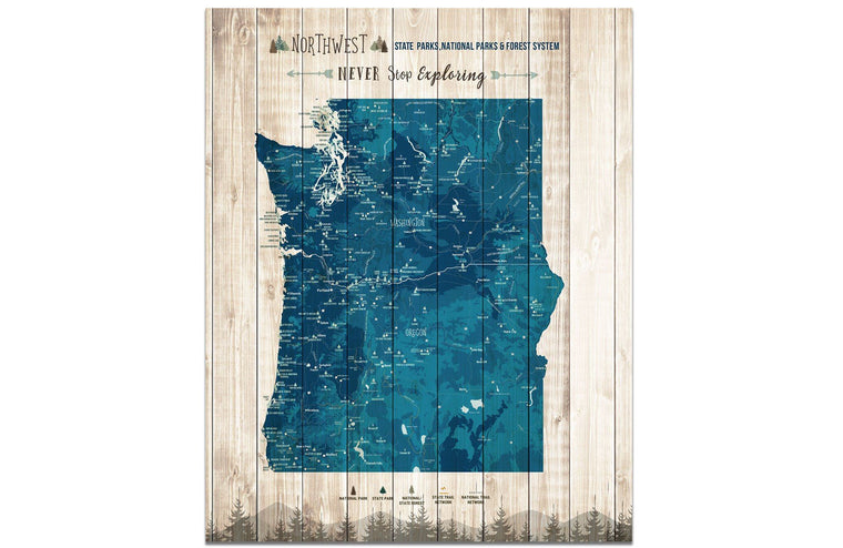Northwest State Park Map, Washington and Oregon Poster Map World Vibe Studio 16X20 Navy-Blue