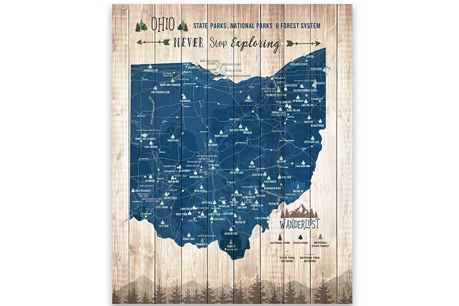 Ohio State Parks Map, Canvas, Push Pin Map World Vibe Studio 12X16 Navy-Blue