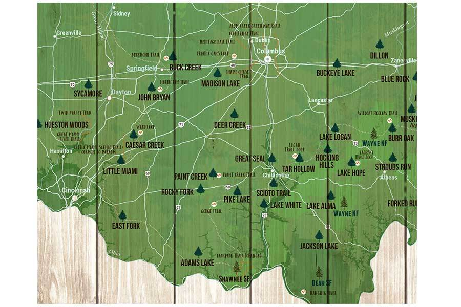 Ohio State Parks Map, Canvas, Push Pin Map World Vibe Studio