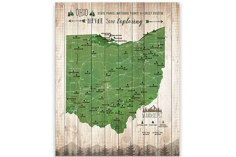 Ohio State Parks Map, Canvas, Push Pin Map World Vibe Studio 12X16 Green