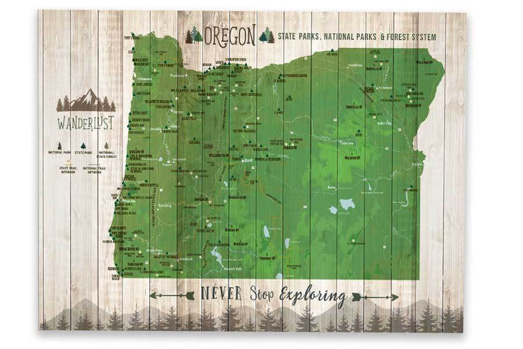 Oregon State Parks Map, Hiker Gifts Map World Vibe Studio