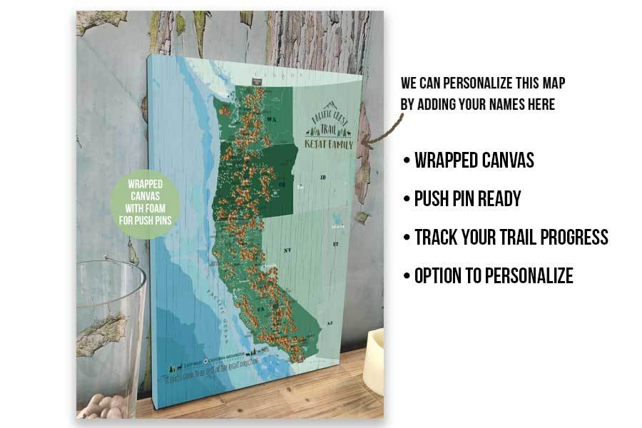 Pacific Crest Trail Map, Canvas Push Pin Board, Track Your Hike