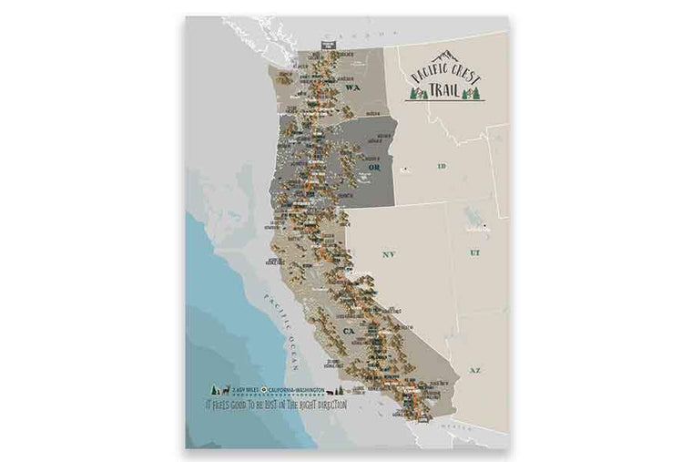 Pacific Crest Trail Map, Canvas Push Pin Board, Track Your Hike Map World Vibe Studio 12X16 Tans