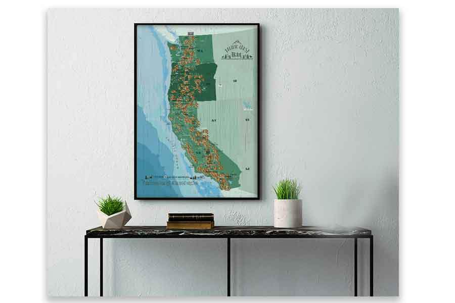Pacific Crest Trail Map Poster