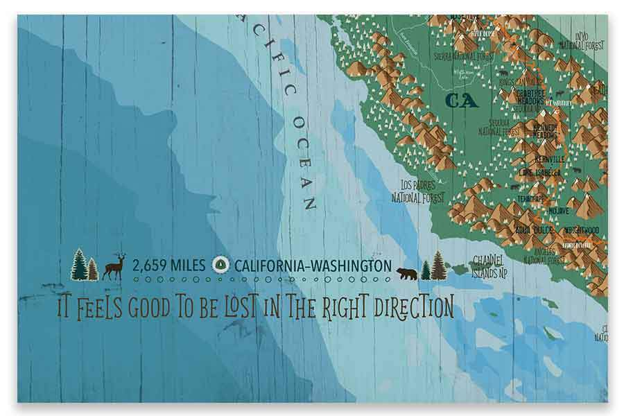 Pacific Crest Trail Map Poster Map World Vibe Studio