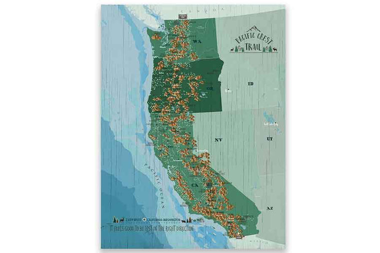 Pacific Crest Trail Map Poster Map World Vibe Studio 12X16 Greens