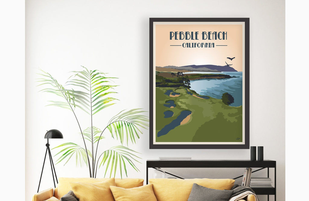Pebble Beach Golf Club Poster, Golf Clubs of America, Unframed Map World Vibe Studio