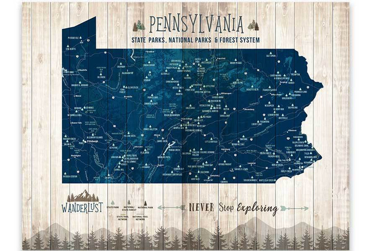 Pennsylvania State Park Map, Custom options Map World Vibe Studio 12X16 Navy-Blue