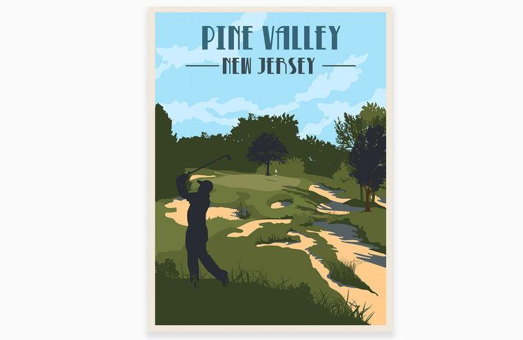Pine Valley Golf Club Poster, Golf Clubs of America, Unframed Map World Vibe Studio