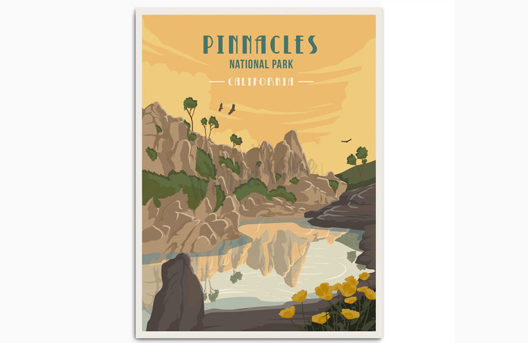 Pinnacles National Park, California, National Park Poster, RV Decor, Unframed Map World Vibe Studio