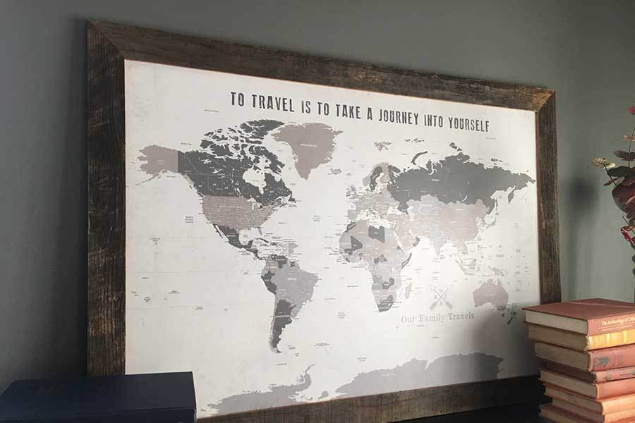 Personalized Pin Your Journeys World Map on