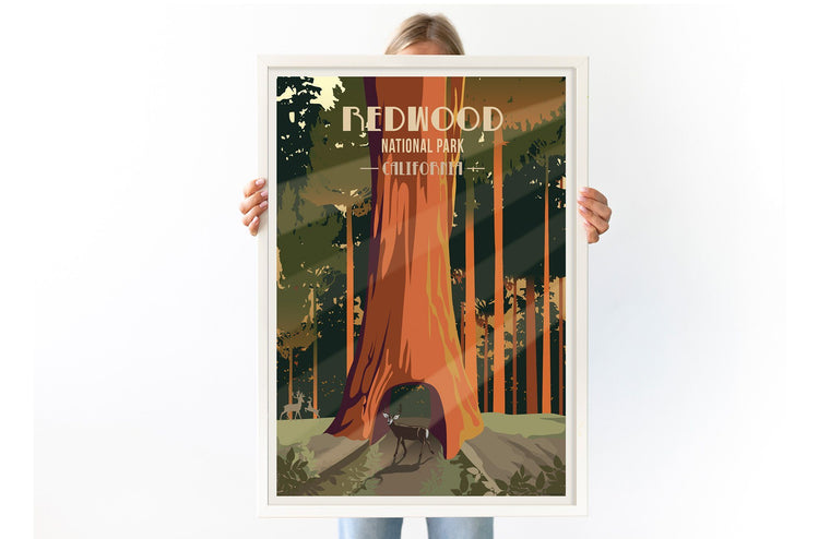Redwood National Park, California, National Park Poster, Unframed Map World Vibe Studio
