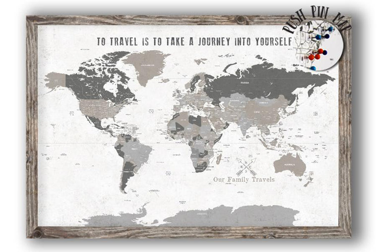 Rustic Cream and Beige, Customized World Map, Framed Map World Vibe Studio