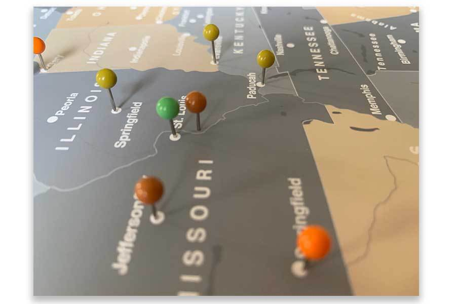 Rustic Map of USA, Trip tracker, Interactive Map Map World Vibe Studio