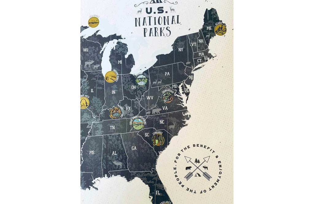 Scratch off Map, National Park Poster, 12X18 Inches Map World Vibe Studio