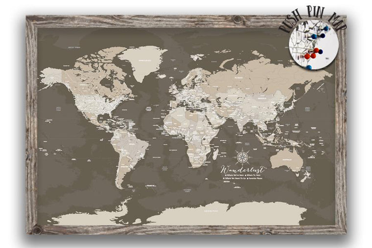 Rustic Dark Brown World Map, Push Pin Framed Map World Vibe Studio