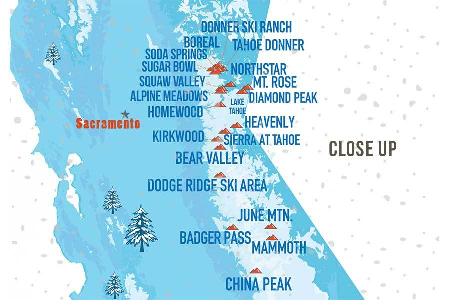 California Ski Map, Wall Art Poster Map World Vibe Studio